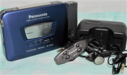 Like NEW  Early 1990s Model Panasonic Portable Cassette Player RQ-SX30 - Blue Color - Made in TAIWAN - Reconditioned - DOLBY