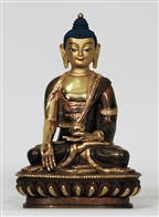 Statue Ratnasambhava, 06 inches, Partially Gold Plated