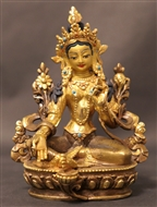 Statue Green Tara, 05.5 inch, Partially Gold Plated