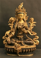 Statue Green Tara, 08 inch, Partially Gold Plated