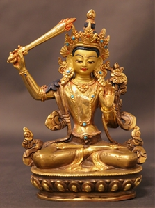 Statue Manjushri, 05.5 inch, Partially Gold Plated