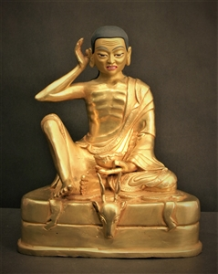 Statue Milarepa, 06 inch, Fully Gold Plated