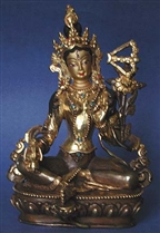 Statue Red Tara,  05.5  inch, Partially Gold Plated