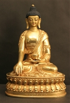 Statue Shakyamuni Buddha, 08 inch, Full Gold Plated, Double Lotus