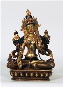 Statue White Tara, 05.5 inch, Partially Gold Plated