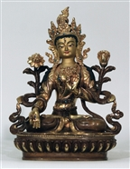 Statue White Tara, 08 inch, Partially Gold Plated