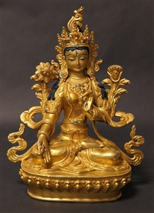 Statue White Tara, 8.5 inch, Fully Gold Plated