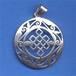 Eternal Knot pendant, white metal, 1.25 inch