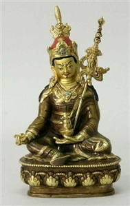 Statue Guru Rinpoche, 05.5 inch, Partially Gold Plated