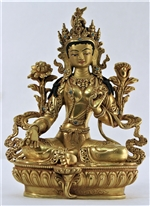 Statue Green Tara, 8.5 inch, Fully Gold Plated