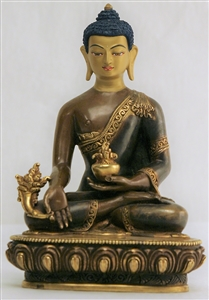 Statue Medicine Buddha, 07 inch, Partially Gold Plated