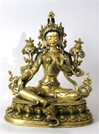 Statue Green Tara, 08.5 inch, Fully Gold Plated