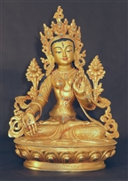 Statue White Tara, 12 inch, Fully Gold Plated
