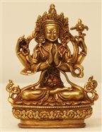 Statue Chenrezig, 3 inch, Gold Finish