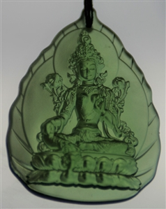 Deity Pendant Green Tara Glass