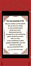 Banner: Dalai Lama's Quote on The True Meaning of Life