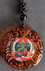 Green Tara Pendant Glass round