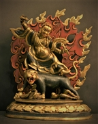 Statue Dorje Drollo, 12 inch, Partially Gold Plated