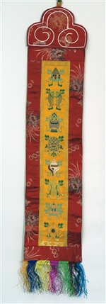 "Banner, 8 Auspicious Symbols; L=30""; W=6"", Yellow, Sold by the piece."
