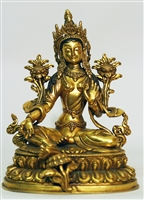 Statue Green Tara, 08 inch, Double Lotus, Bronze