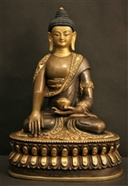 Statue Shakyamuni Buddha, 08 inch, Partially Gold Plated
