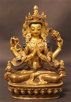 Statue Chenrezig, 05 inch, Partially Gold Plated