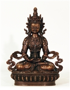 Statue Amitayus, 08 inch, Dark Copper