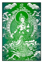 "Green Tara by: Radiant Heart : 13"" x 18"" D-8"
