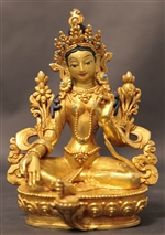 Statue Green Tara, 05.5 inch, Fully Gold Plated