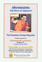 Mahamudra: The Path of Simplicity, DVD <br>  By: Dzogchen Ponlop Rinpoche
