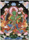 Card Laminated; Green Tara, 5 inch x 7 inch