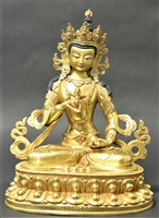 Statue Vajrasattva, 8 inch Fully Gold Plated