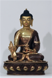 Statue Medicine Buddha, 13 inch, Partially Gold Plated