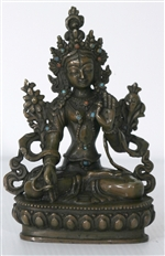 Statue White Tara, 4.5 inch, Copper