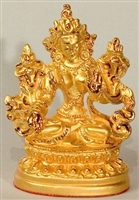 Statue White Tara, 2.25 inch, Gold  Plated