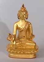 Statue Medicine Buddha, 2.25 inch, Gold Plated