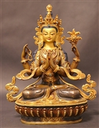 Statue Chenrezig, 08 inch, Partially  Gold Plated, Fine Carving