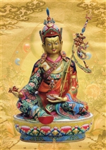 Guru Rinpoche, with seven-line supplication prayer on the back of the card