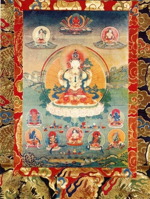 All-Seeing Lord Avalokiteshavra<br>and the Eight Great Bodhisattvas<br> Laminated: 5x7 inch