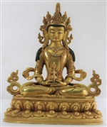 Statue Amitayus, 8,5 inch, Fully Gold Plated