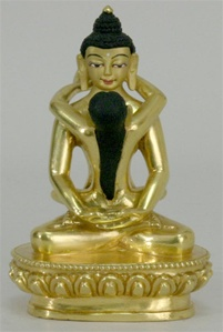 Statue Samantabhadra, 04.5 inch, Fully Gold Plated