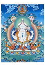 Avalokiteshvara, Four-Armed Postcard