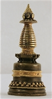Statue Stupa, 07 inch, Kadam, Partially Gold Plated