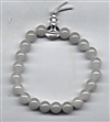 Wrist Mala White Agate, 08 mm