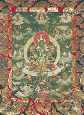 Green Tara<br>dark green<br>Laminated: 5x7 inch