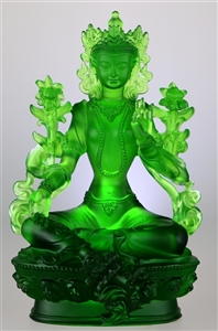 Statue Green Tara, 08 inch, Glass