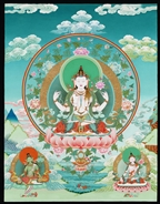 Avalokitesvara with Geen Tara and White Tara, 18 x 23 inch print