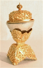 Kapala, silver and gold, 5 inch height, 2.5 inch diameter