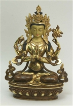 Statue Chenrezig, 12 inches, Partially Gold Plated