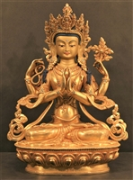 Statue Chenrezig, 8 inch, Fully Gold Plated